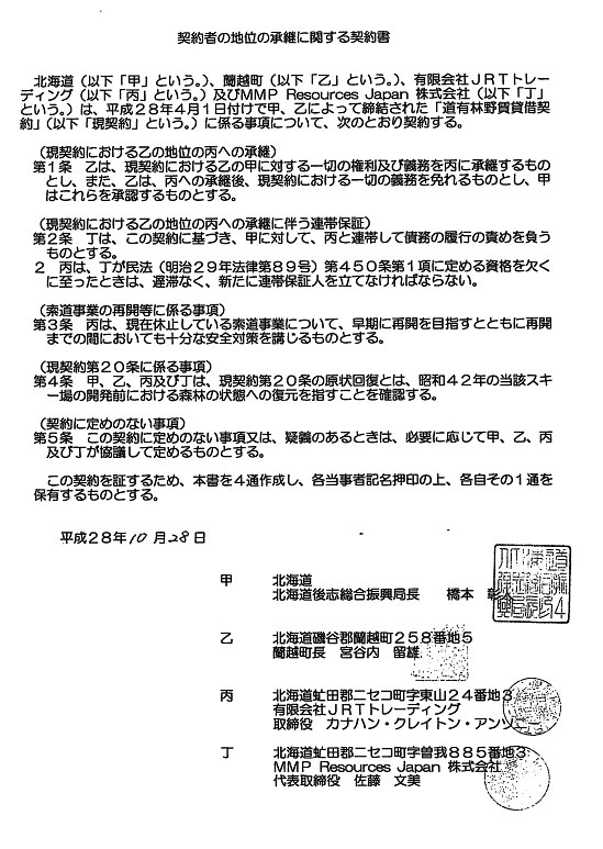 契約書の地位の継承に関する確認書