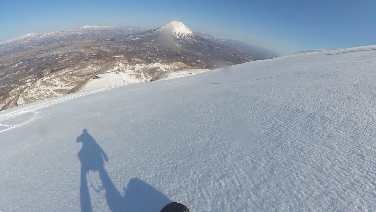 スノーボードで下山
